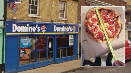 The pizza ordered by Conor Beart at Domino's in March which he claims to be 'one inch short'. Pictur