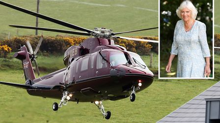 A helicopter carrying the Duchess of Cornwall (inset) was involved in a near miss south of Wisbech w