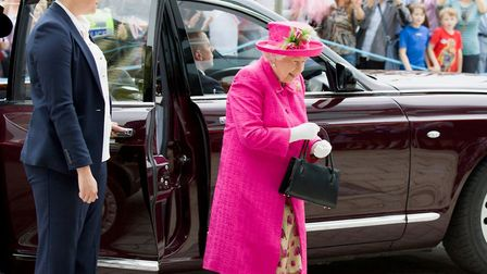 Her Majesty The Queen has arrived at the new Royal Papworth Hospital to crowds of excited children w