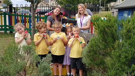 The reception classes of the Lantern School in Ely have been gifted over 100 rocks painted with a fo