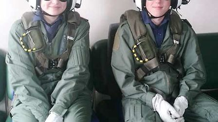 Cadets Amy Brownlie-Wood and Joshua Mayes prepare for their flight. Picture: COLIN ARNOLD