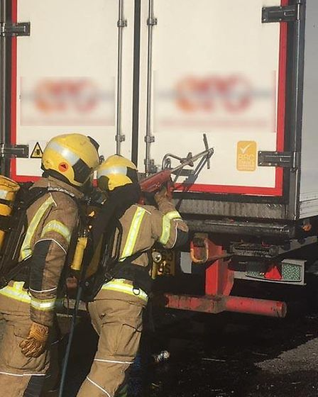 Accidental fire to a lorry saw traffic held up today on the A14 near Huntingdon. Picture; CAMBS FIRE
