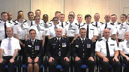 28 new police recruits welcomed with passing out parade. Here they are pictured with chief officers.