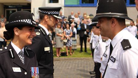 28 new police recruits welcomed with passing out parade: DCC Jane Gyford and ACC Dan Vajzovic inspec