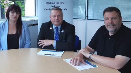 Cambridgeshire Police and Crime Commissioner Jason Ablewhite (centre) with IMHT Service Manager Shar