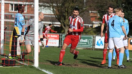 Joy for Rhys Barber after he wheels away after scoring for Felixstowe in their 3-0 win over Brentwoo