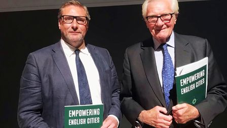 Mayor James Palmer and Lord Heseltine. Mayor Palmer was at the launch of a report by Lord Heseltine