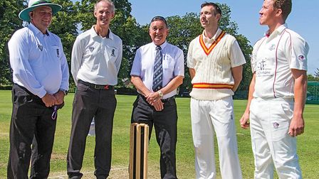 Captains of the MCC and MGSOBA witness the coin toss. Picture: PAT RINGHAM