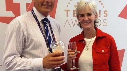 Simon with Judy Murray. Picture: FACEBOOK/MATTY GRAINGER