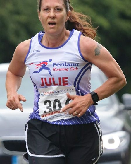 A host of runners from Fenland Running Club braved the mixed weather at the Green Wheel Relay on Sun