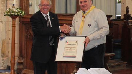 Former Royal British Legion branch chairman Chris Green and Mark Wells, group leader of 1st Finching