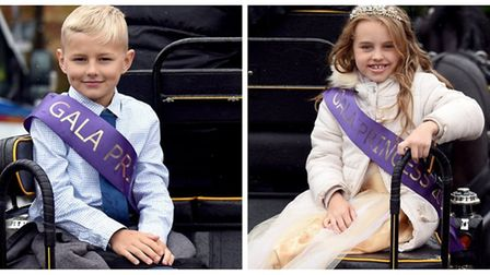 March Summer Festival Gala Prince (Kaylan Rendell) and the Gala Princess (Lexi Bradshaw) in a horse-