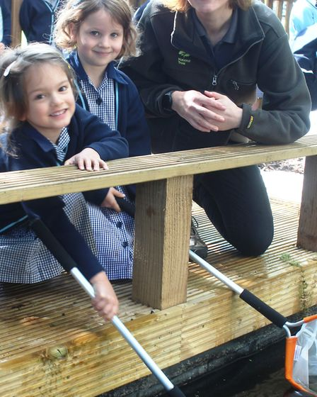 Pupils enjoy the new conservation area opening at King's Ely Acremont. Picture: JORDAN DAY