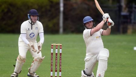 Tom Beaumont on his way to a half-century as City of Ely beat Wilburton. Picture: IAN CARTER