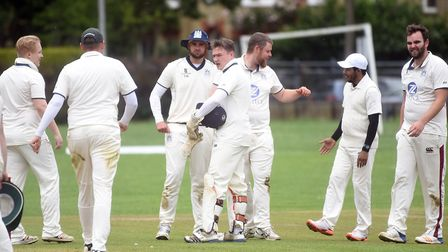 Wilburton players celebrate a wicket in their defeat to City of Ely. Picture: IAN CARTER