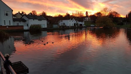 Dunmow Doctors Pond at sunset