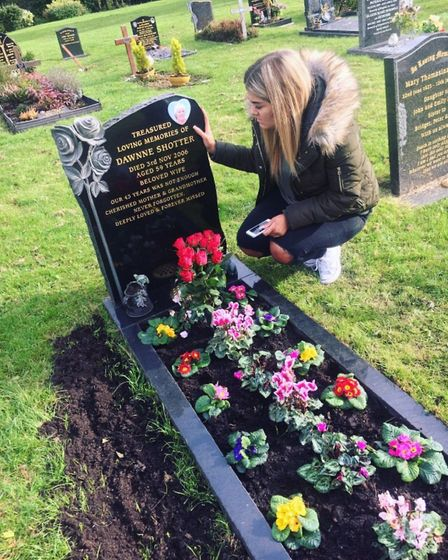 """Sophie O'Sullivan visits the grave of her grand mother who died in the Littleport crash. """"My beautif"""