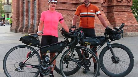 Zena Palgrave and Dan Bromilow after completing the Three Peaks Bike Race between Vienna and Barcelo