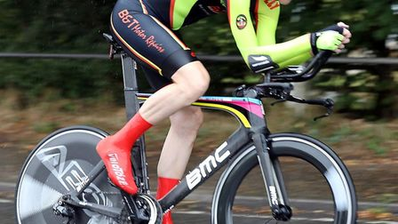 Martin Holmes of Ely & District Cycling Club rides in the Victoria CC 10-mile time trial near Saffro
