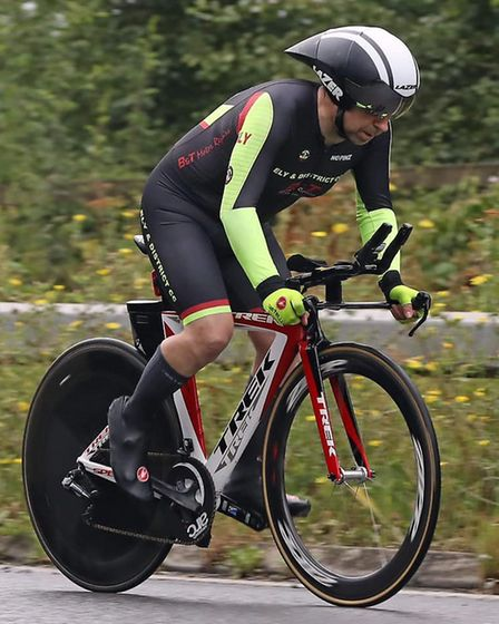 Will Shepherd rides towards the finish line for Ely & District CC at the Team Chronos 10-mile time t