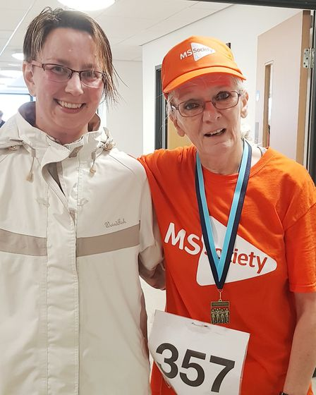 Naomi Henson meeting up with 10k MS charity runner Cathy Gibb-de Swarte afterwards. Picture: Cathy G