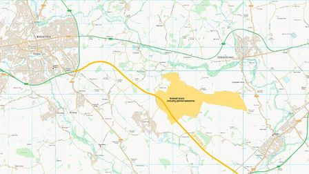 The proposed route of the new dualled A120 between Braintree and Kelvedon. Picture: CONTRIBUTED