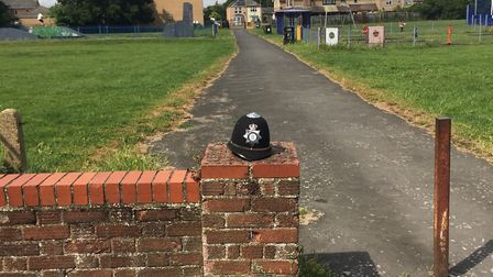 'Helmet', a work of art by Cambridgeshire Police in Chatteris? Or a sublminal message to say we may