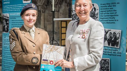Staff sergeant Eleanor Phipps from the Huntingdon Detachment, the Lord Lieutenant's cadet, presents