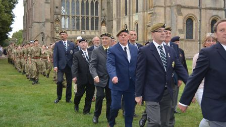 Honouring the men of the Cambridgeshire Regiment at the annual service and parade in Ely. Picture: M
