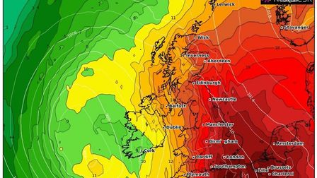 The UK-wide heat graph for Thursday, July 25. Picture: WXCharts.com