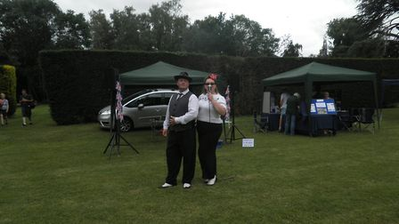 Duo Perfect Vintage were on hand to entertain visitors with classic war time songs. Picture: CONTRIB