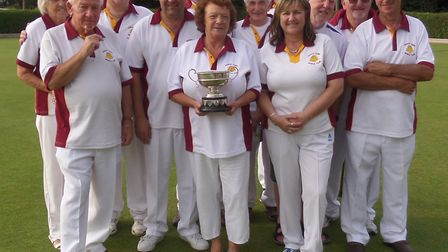 March Town celebrate their success in the county cup competition at the North Cambs finals. Picture: