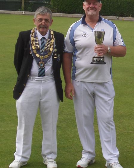 Tony Reed (right) with North Cambs president Phil Cross. Picture: SUBMITTED