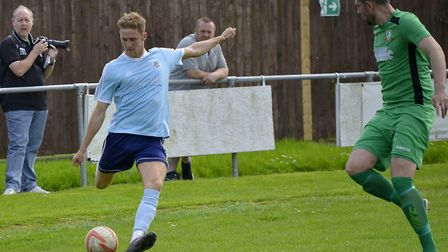 Soham Town Rangers target Jack Chandler in action for previous club Godmanchester Rovers. Picture: D