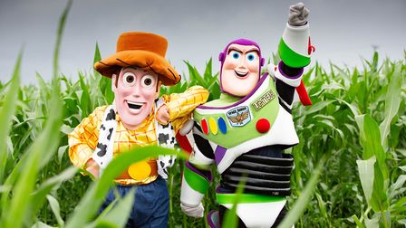 Rebecca Phillips-Bartlett and Joe Brown dress as Woody and Buzz for the Maize Maze Launch showing To