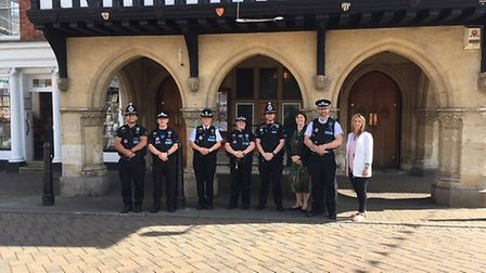 New town team officer PC Sonia Green and Joe Whitehead (centre right) with senior Essex Police offic