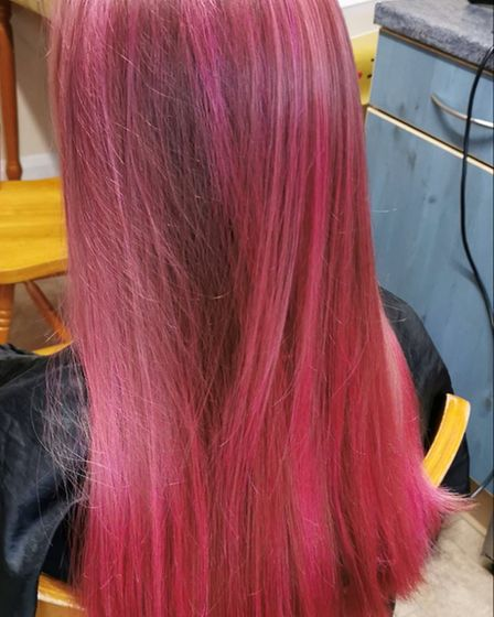 Anastasia after her hair was dyed pink. Picture: JACKIE HARDING