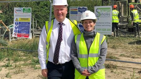 Work begins at village renewable heat project. Council leader Steve Count and Emma Fletcher from the