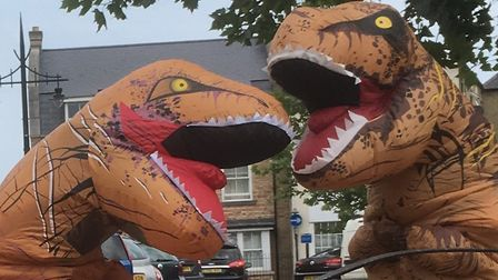 The two orange, purple and black dinosaurs spotted dancing and fighting on March's market place. Pic