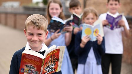 Read to Succeed 2019: Pupils with their donated books at Lionel Walden Primary School in Doddington.