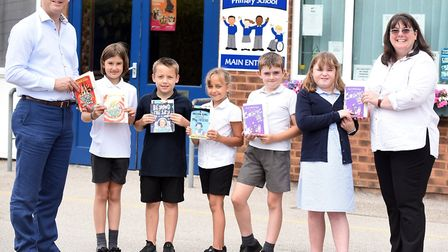 Read to Succeed 2019: Pupils with their donated books at Mepal and Witcham Church of England Primary