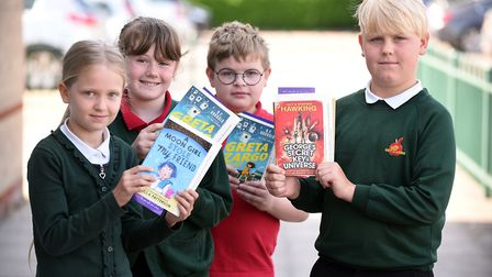 Read to Succeed 2019: Pupils with their donated books at Orchards Church of England Primary Schoolin
