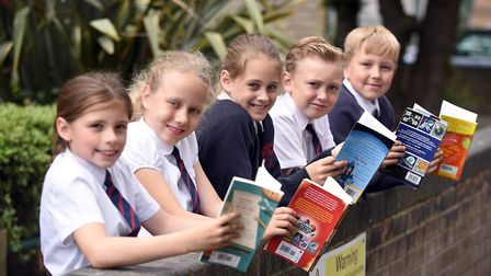 Read to Succeed 2019: Pupils with their donated books at The Peckover School in Wisbech. Picture: IA