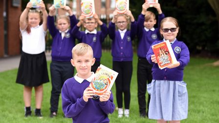 Read to Succeed 2019: Pupils with their donated books at Nene Ramnoth Junior School in Wisbech. Pict