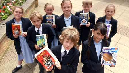 Read to Succeed 2019: Pupils with their donated books at Wisbech Grammar School. Picture: IAN CARTER