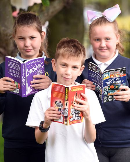 Read to Succeed 2019: Pupils with their donated books at Wisbech Saint Mary Church of England Primar