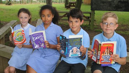 Read to Succeed 2019: Pupils with their donated books at Park Lane Primary School in Whittlesey. Pic