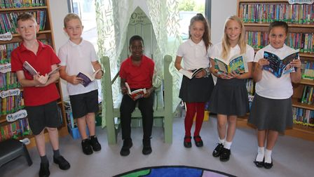 Read to Succeed 2019: Pupils with their donated books at Alderman Jacobs Primary School in Whittlese