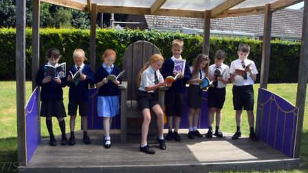 Read to Succeed 2019: Pupils with their donated books at Downham Feoffees Primary School in Little D