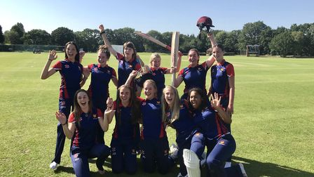 The Felsted Girls' U18 cricket team celebrating their success. Picture: FELSTED SCHOOL